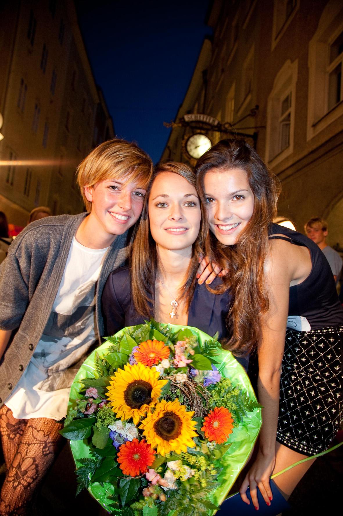 Das sind die drei Gewinnerinnen, die beim Model-Casting am 7. September in der Linzer Gasse von einer hochkaraetigen Jury gewaehlt wurden (Foto Wildbild)