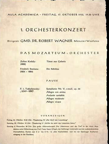 Die Salzburger Kulturtage – das Klassik-Highlight im Herbst -mit identischem Programm wie 1952
